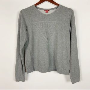 Guess Embossed Gray Sweatshirt Big Logo Pullover